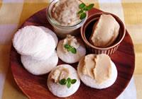 パンを適当な大きさにカット、もしく抜き型等で抜く。ひよこ豆ペースト、バナナジャムをパンと一緒に盛り付ければ出来上がり!