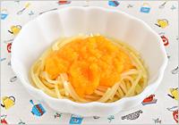 スパゲッティは1~2cmの長さにキッチンバサミで切り、たっぷりの湯で食べやすいかたさになるまでゆで(塩は加えない)、2.と和えて皿に盛れば出来上がり!